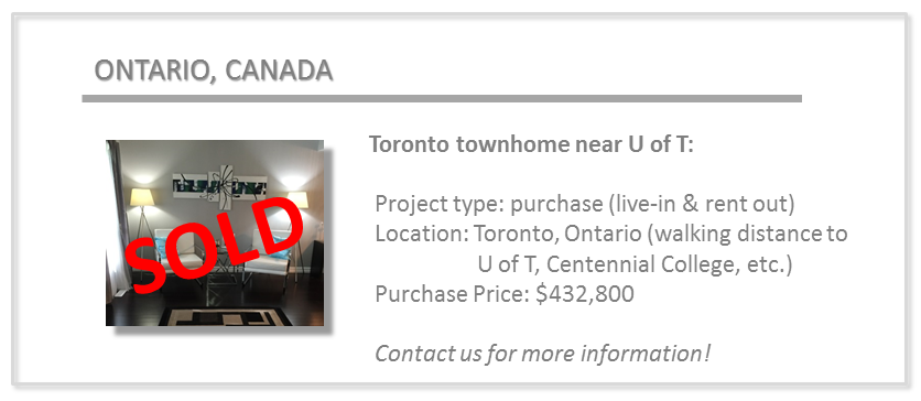 past deals - UTSC townhome